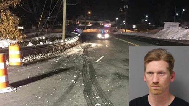 Christopher Hand was arrested for striking a construction flagger with his vehicle in Tolland early Wednesday morning. (Tolland Alert/state police photo)