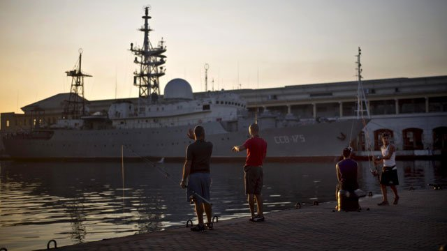 The Russian warship Viktor Leonov CCB-175, was docked in Havana's harbor, Cuba, on Jan. 21, 2015 and on Wednesday, the Russian spy ship was off the coast of Connecticut. (AP Photo/Ramon Espinosa)