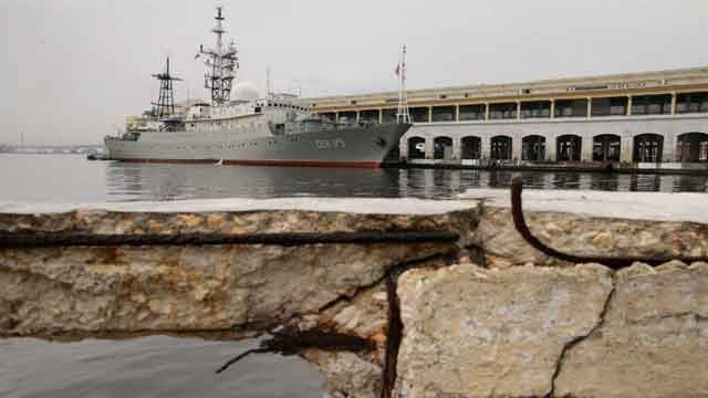 The ship sailed into the Havana harbor early Tuesday morning on the eve of the start of historic talks between the United States and Cuba aimed at normalizing diplomatic relations. (Photo by Chip Somodevilla/Getty Images)