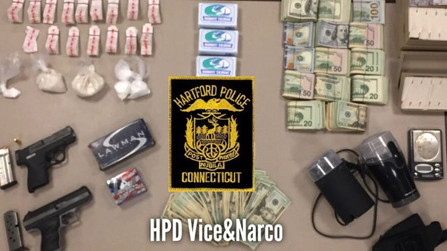 Police said they seized more than 700 of bags of heroin and 56 grams of cocaine in a bust this week. (Hartford police photo)