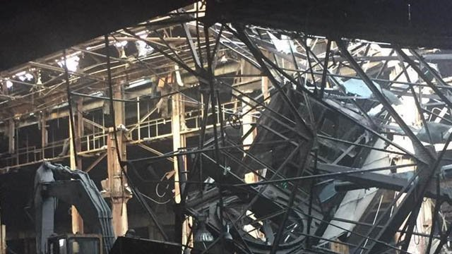 A roof collapse was reported at the former SHW property on Main Street in Ansonia. (Ansonia Fire Dept. photo)