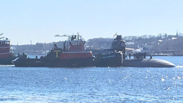 The USS Pittsburgh returned home to Groton on Friday. (WFSB photo)