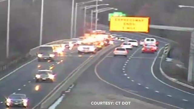 A six-vehicle crash snarled traffic on Route 72 eastbound in Plainville on Monday. (DOT photo)