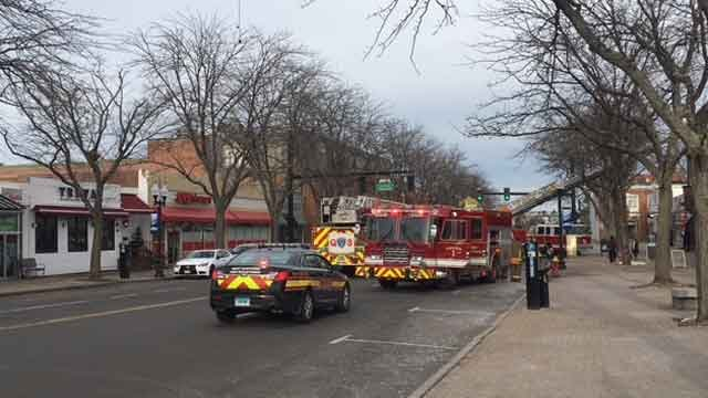 Farmington Avenue in West Hartford was blocked off after a fire on Tuesday afternoon. (WFSB)
