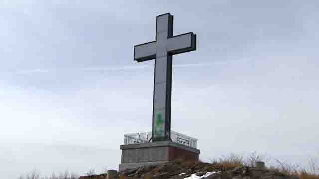 The cross at Holy Land was found having been vandalized recently (WFSB)