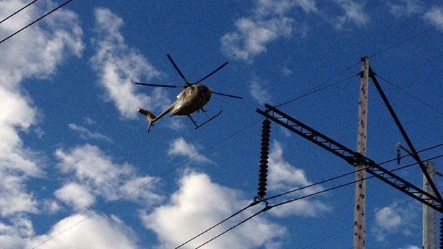 The helicopter inspecting lines during a previous flight. (Waterford police photo)