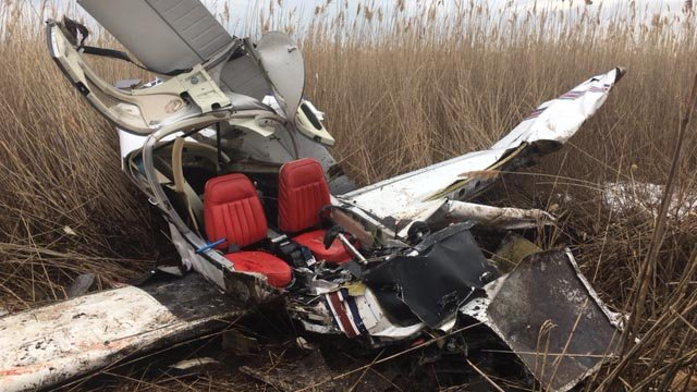 A plane with two people on board crashed near Roses Farm Road in East Haven. (East Haven Mayor's office photo)
