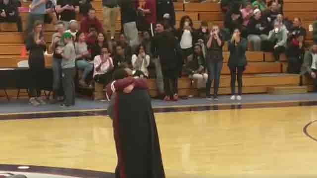 A cheerleader was surprised with a marriage proposal on Tuesday night. (ECSU Alumni Association Facebook)