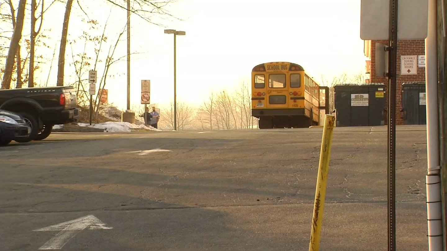 A school bus was involved in a minor crash in Southington on Thursday (WFSB)