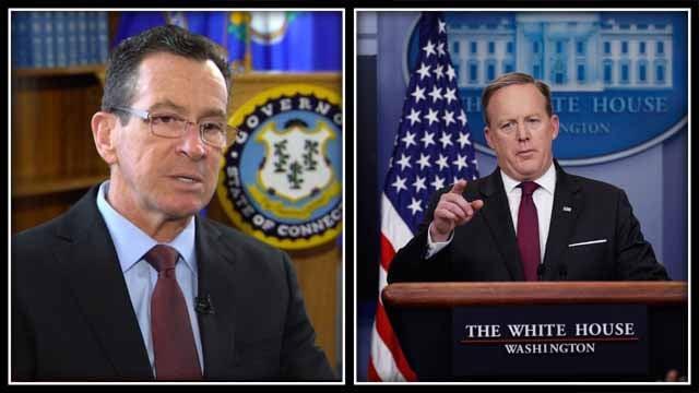 Gov. Dannel Malloy and Sean Spicer (WFSB/AP)