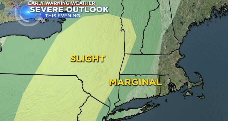 The Storm Prediction Center has put Connecticut under a marginal risk for severe weather this evening when a round of storms moves through.  (WFSB)