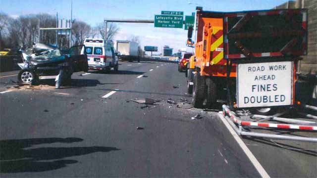 An SUV hit a DOT truck on Sunday morning on I-95 in Bridgeport (CT State Police)
