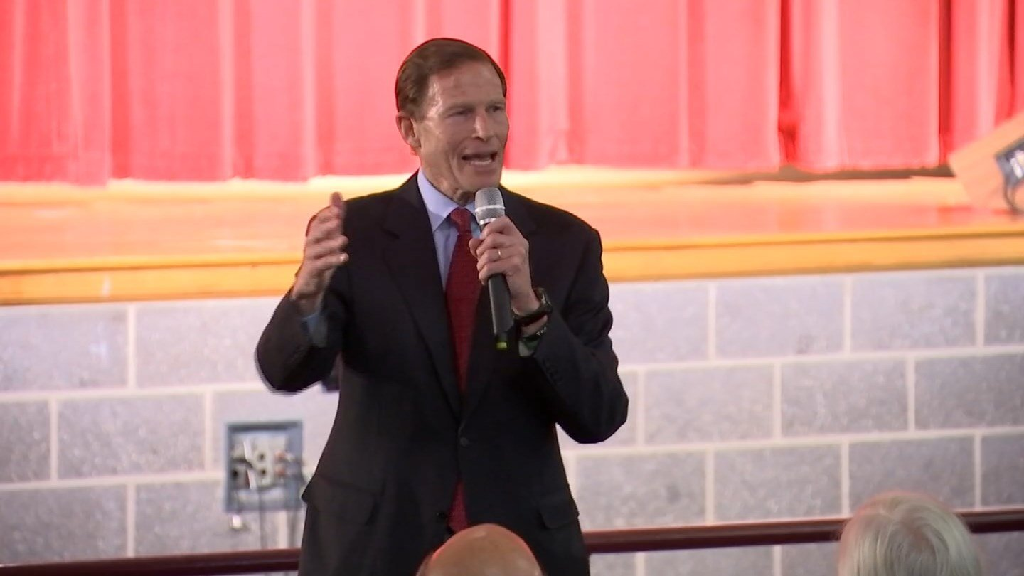 Sen. Richard Blumenthal also held a town hall meeting in New Haven on Saturday. (WFSB photo)