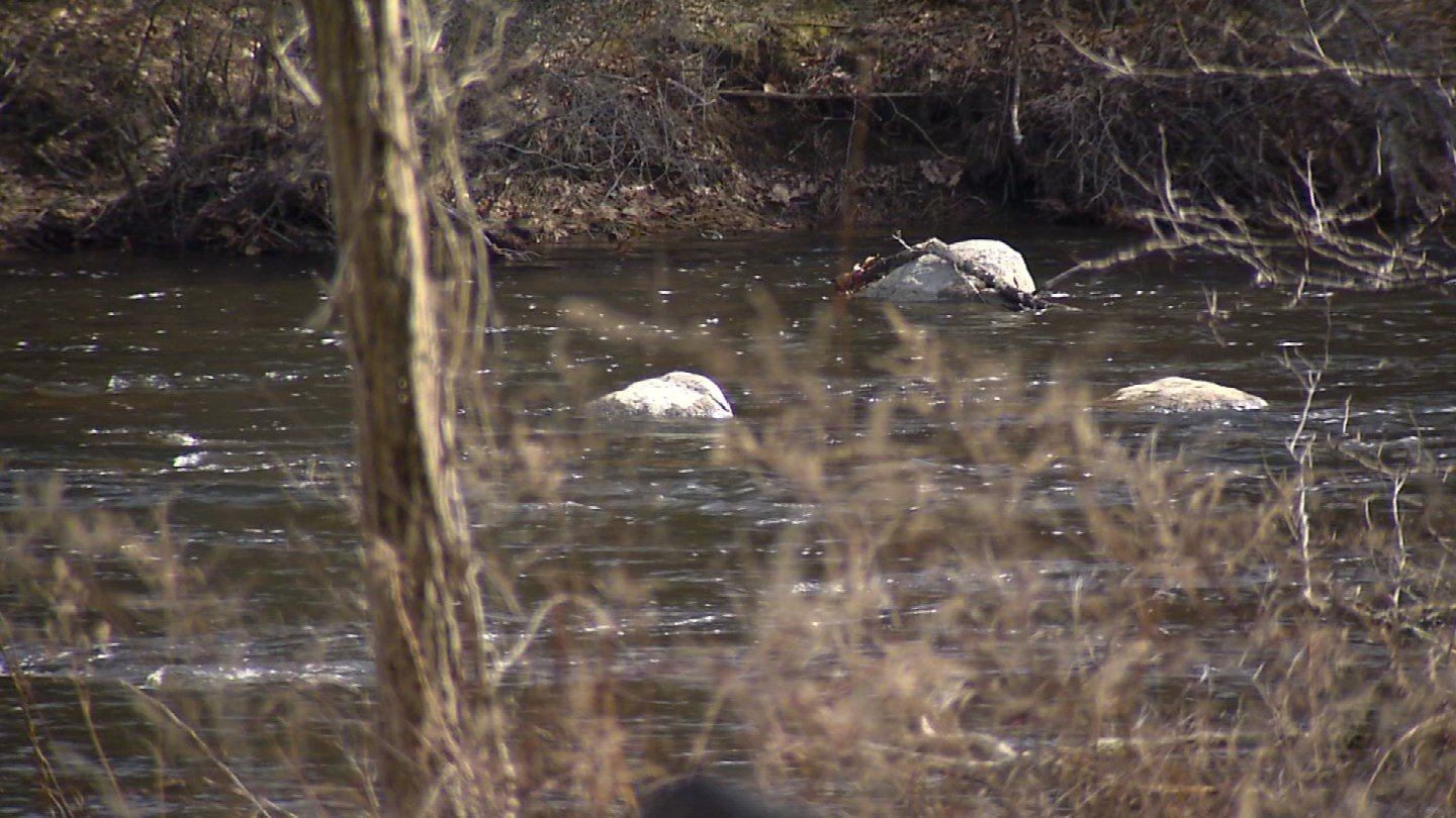 A person was rescued from the Farmington River in New Hartford on Monday. (WFSB photo)