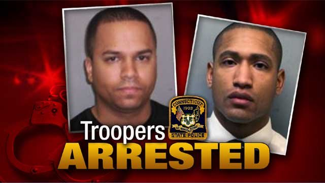 Xavier Cruz from Troop K in Colchester and Rupert Laird of Troop C in Tolland are facing several charges. (Wethersfield Police Department)