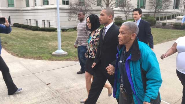 State police trooper Rupert Laird leaves New Britain courtroom after his arraignment on Tuesday. (WFSB)