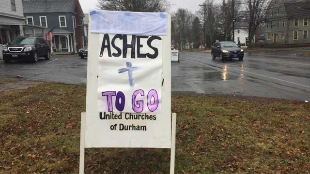 "The United Churches of Durham will be offering ""Ashes to Go"" on Wednesday. (WFSB)"