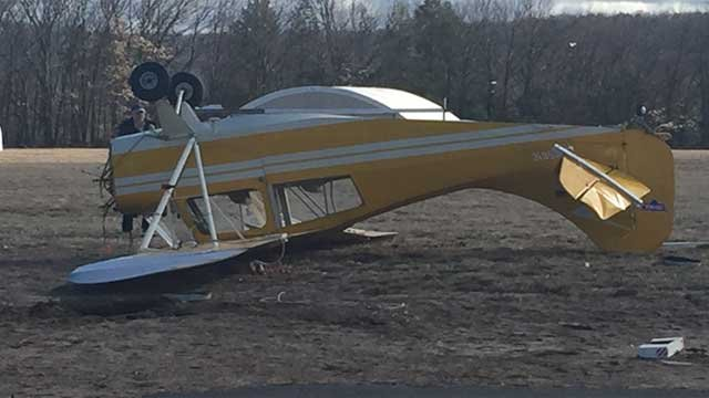 Plane was tipped over in Simsbury on Thursday morning, due to high winds.(WFSB)