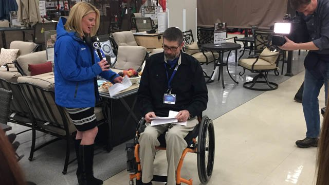 Jaimee became a paraplegic after a roofing accident several years ago. His wife also recently passed away. (WFSB)