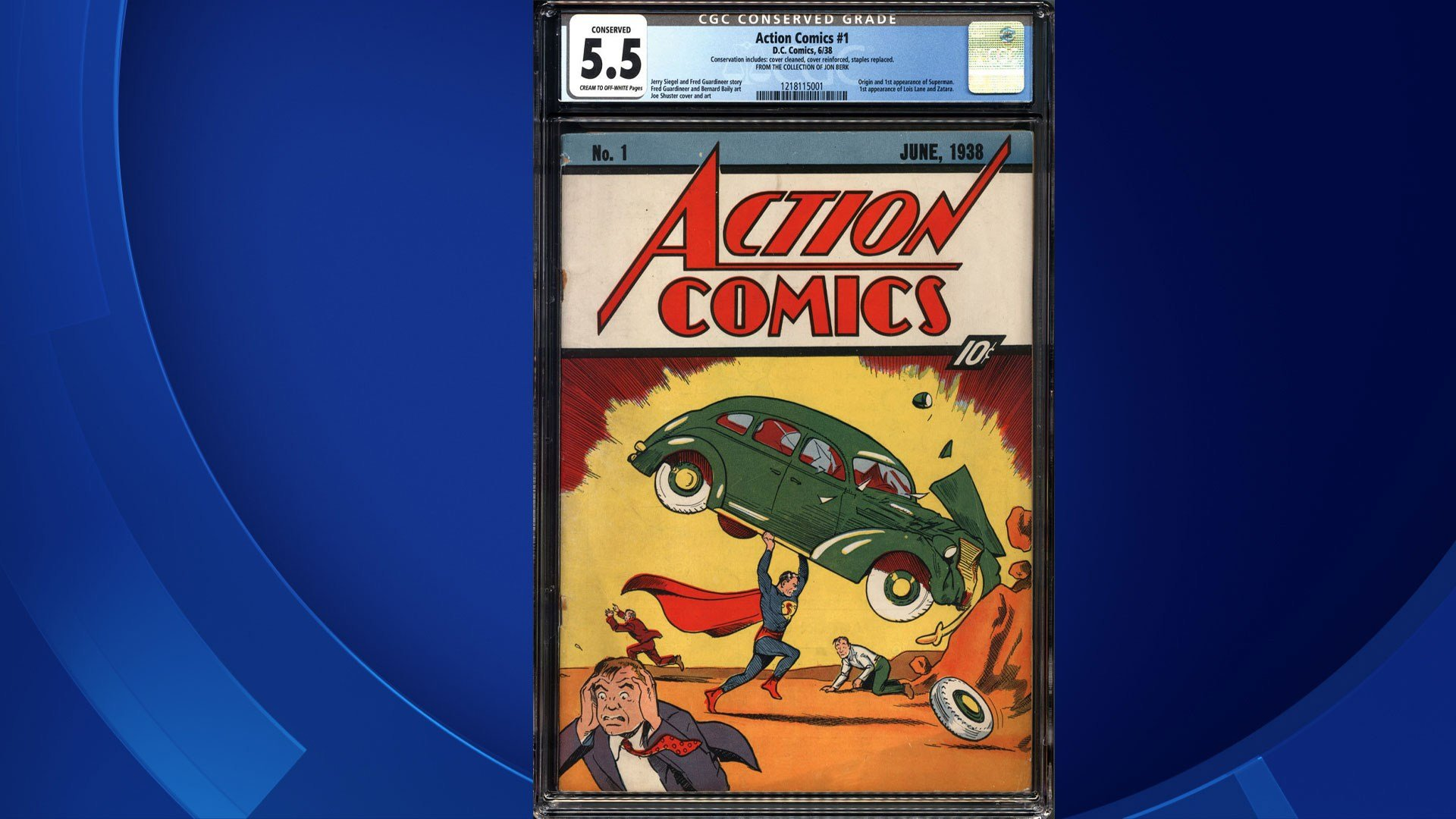 This photo by Metropolis Collectibles in New York shows a copy of a rare 1938 No. 1 Action Comics with the first appearance of Superman. The comic book is among those owned by Hartford attorney John Berk. (Jon Berk/Metropolis Collectibles via AP)