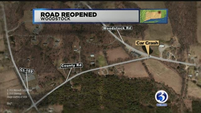 One person was injured in a crash in Woodstock on Friday morning. (WFSB)