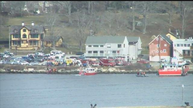 Crews are on the scene after a car went into the water near a Groton restaurant. (WFSB)