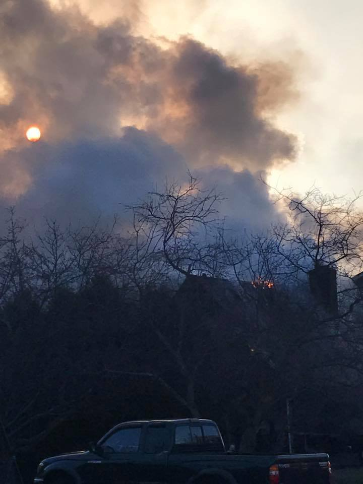 Smoke fills the sky at the scene of a fire in Bristol.  (Viewer submitted photo)