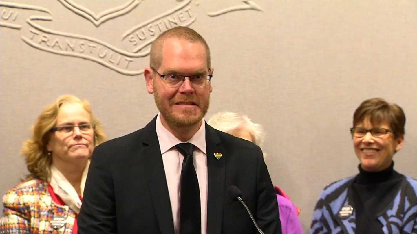 Rep. Jeff Currey joined with LGBTQ advocates on Monday to support legislation banning conversion therapy. (WFSB)