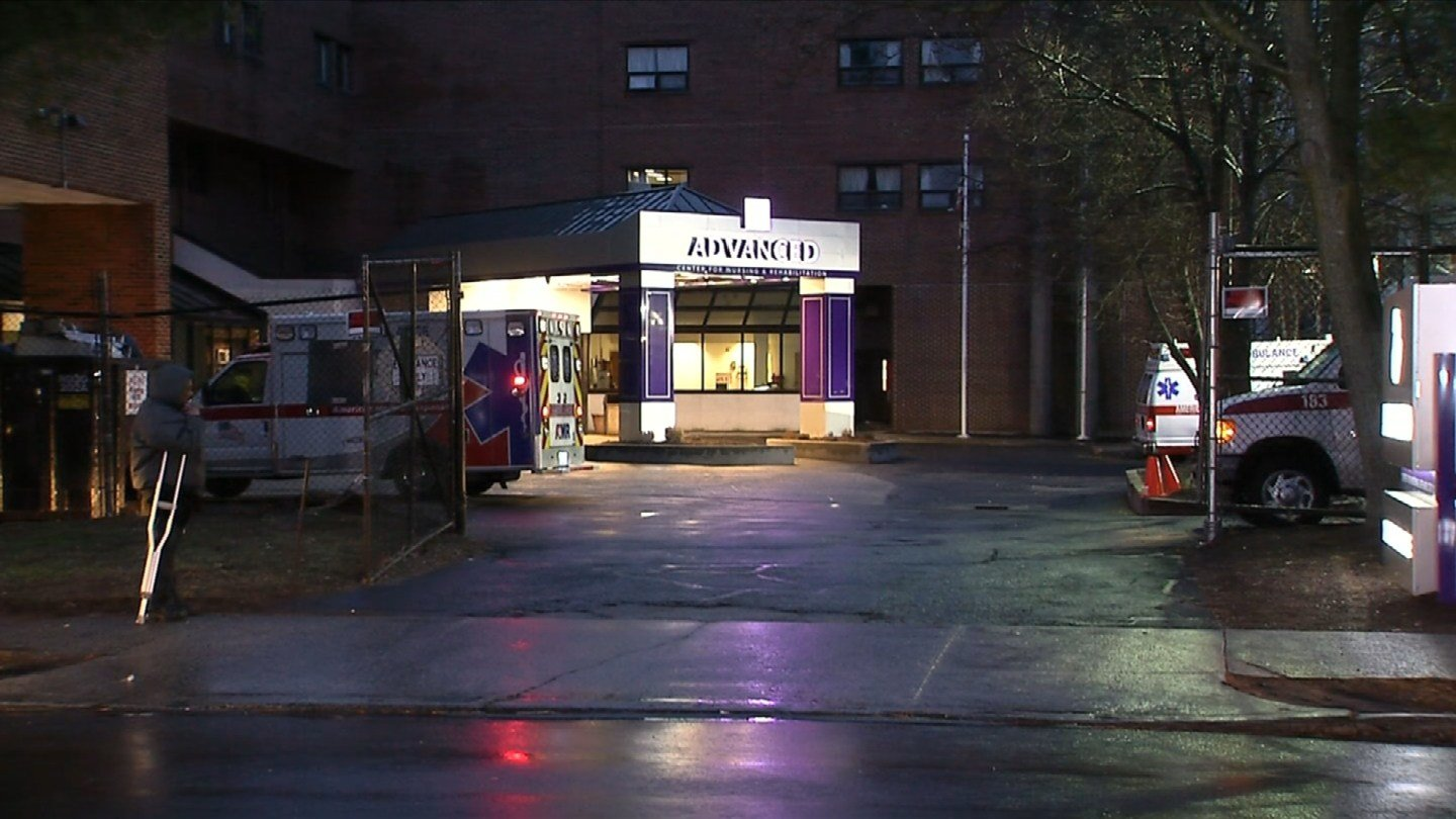 A burst sprinkler pipe forced the evacuation of a nursing home Monday in New Haven. (WFSB photo)
