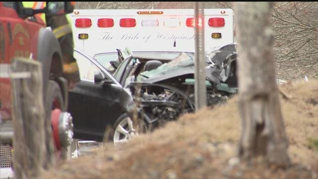 A person in this car suffered serious injuries after a crash with a bus in Colchester. (WFSB photo)