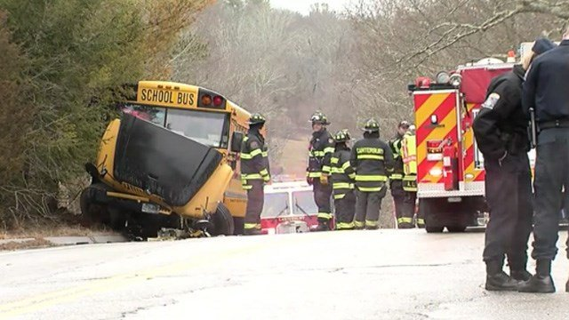 Injuries were reported in a crash involving a school bus in Canterbury on Tuesday morning. (WFSB photo)