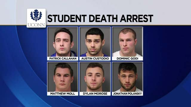 Six fraternity members are facing charges following the student's death (State police/WFSB)