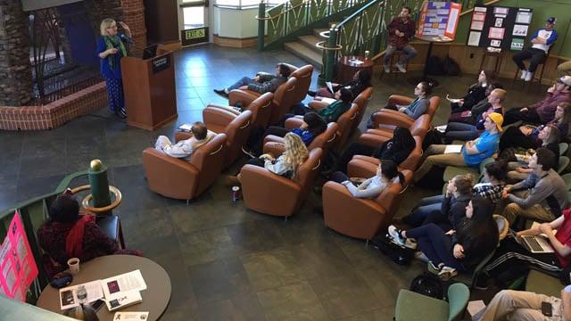 "A ""teach-in"" marking International Women's Day took place at Quinnipiac University in Hamden. (WFSB photo)"