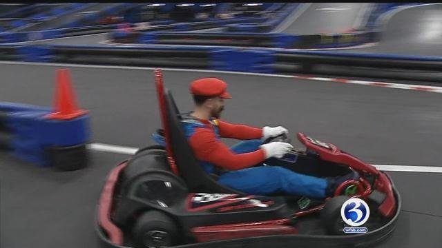 Connecticut comedians put the pedal to the metal in a real-life Mario Kart at NASKART in Montville on Wednesday. (WFSB)
