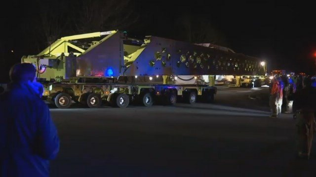 A 'super load' of power plant parts causes road closures in Thomaston and Watertown on Wednesday night. (WFSB)