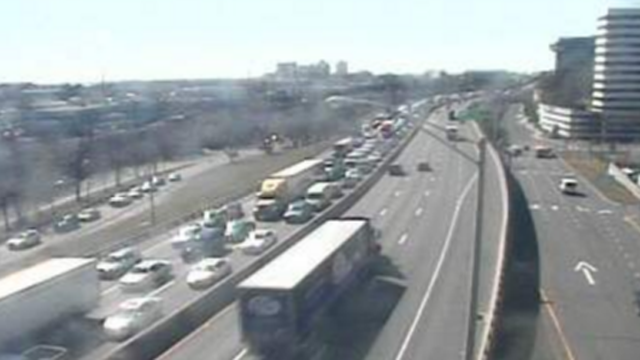 Traffic backed up at exit 8 along I-95 north in Stamford following a deadly incident. (DOT photo)