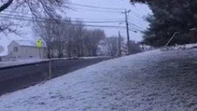Snow in Middletown around 6 a.m. (WFSB photo)