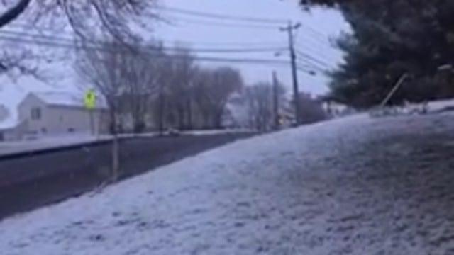 Snow in Middletown around 6 a.m. (WFSB photo)
