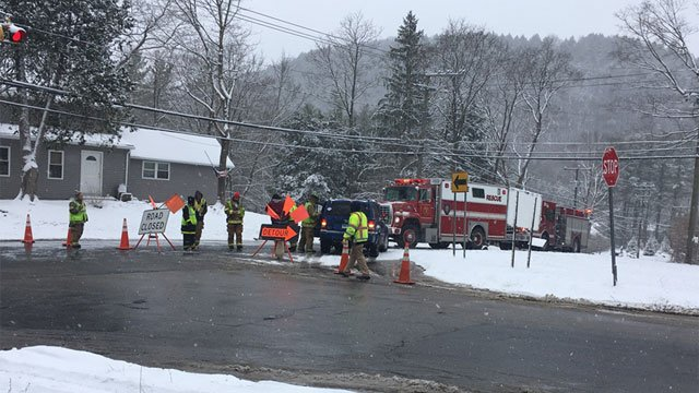 A snow plow and a tractor trailer were involved in a crash in Salisbury on Friday morning. (WFSB)
