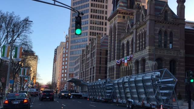 Set up starts early for the parade on Sunday (WFSB)