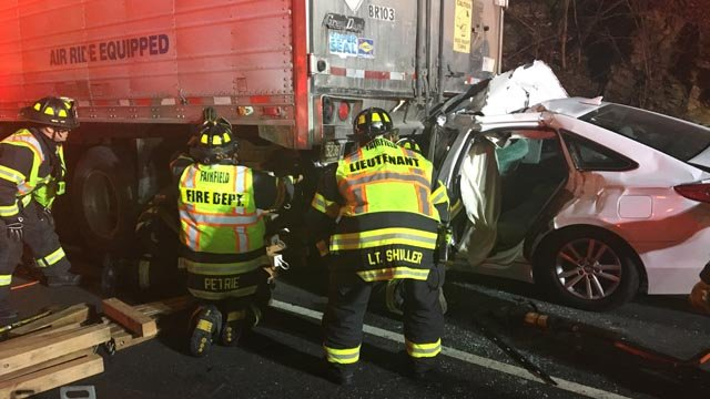 Crews responded to a nine-vehicle crash on I-95 in Fairfield early Tuesday morning. (Fairfield Fire Dept. photo)