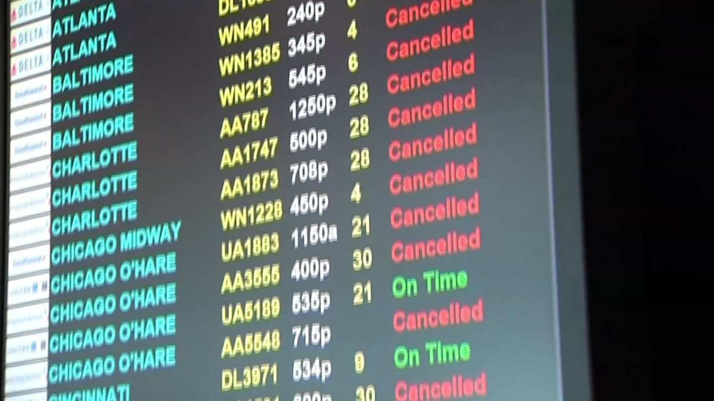 Cancellations were announced at Bradley International Airport starting on Monday. (WFSB photo)