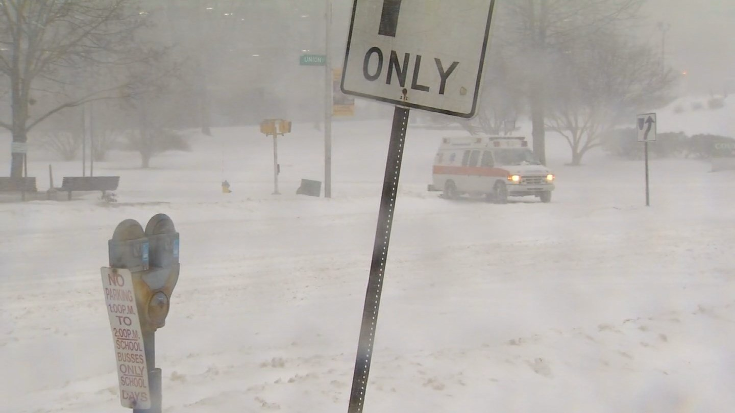 Snow piled up at St. Mary's Hospital in Waterbury. (WFSB photo)