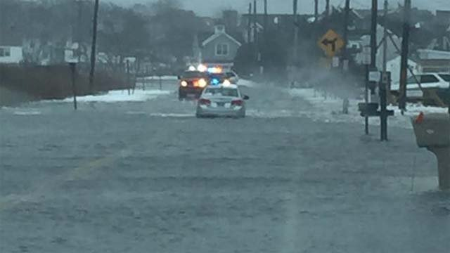 Crews rescued a driver whose car got stuck in Old Saybrook on Tuesday (Old Saybrook Police Dept.)