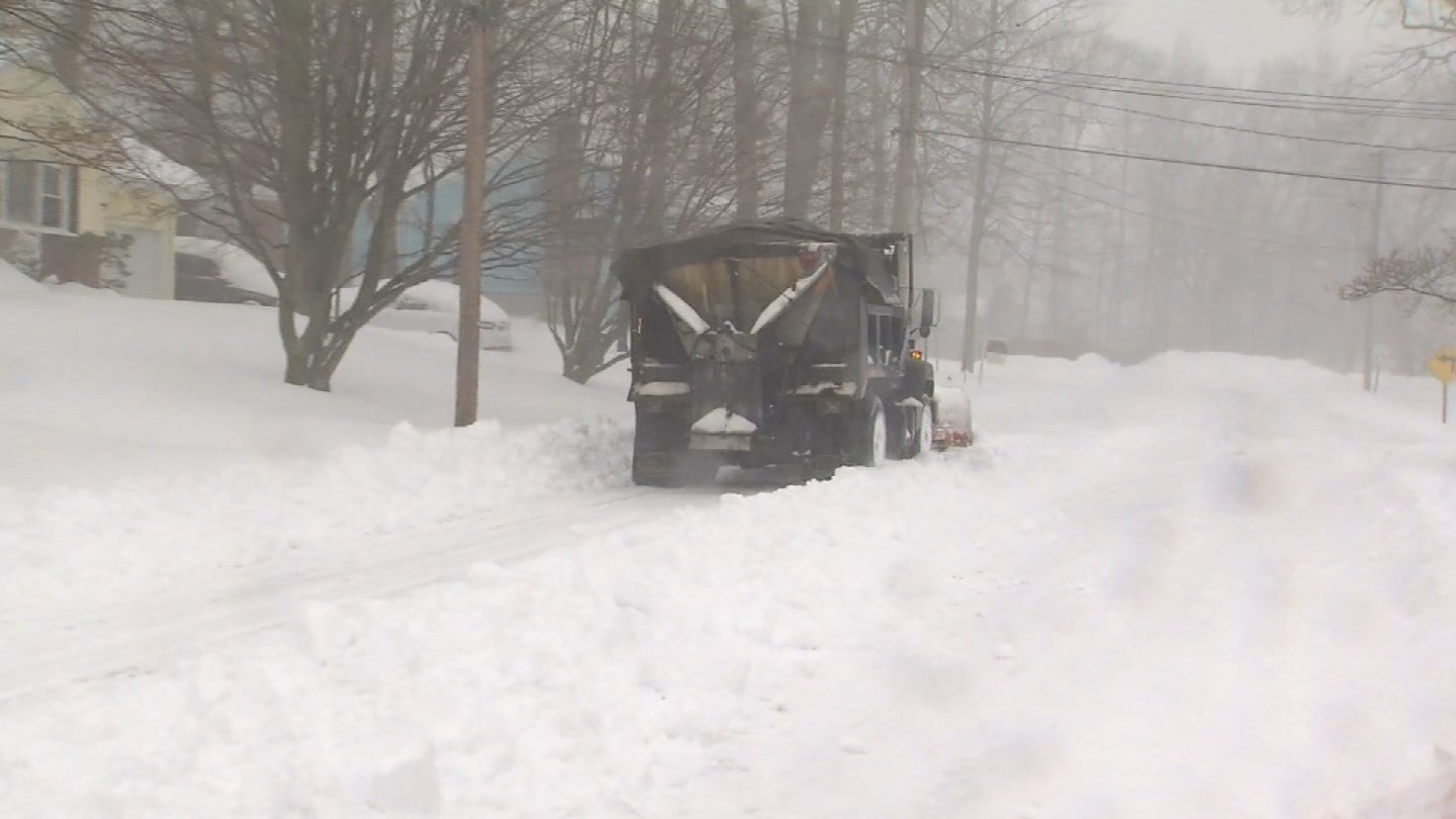 DOT plows have been working to clear streets across the state, like in Bristol (WFSB)
