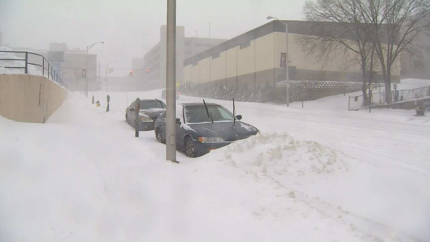 The clean up began Tuesday night in Waterbury after Blizzard Eugene dumped several inches of snow (WFSB)