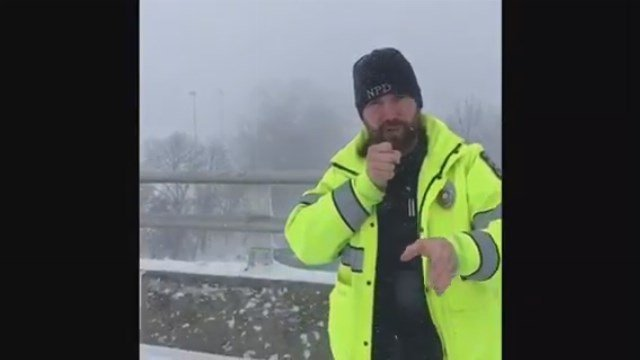 "Ofc. Marc Robinson ""tried his hand at weather forecasting"" on Tuesday. (Naugatuck Police Department/YouTube)"
