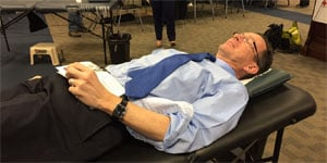 The governor donated blood in Farmington on Wednesday afternoon. (WFSB)