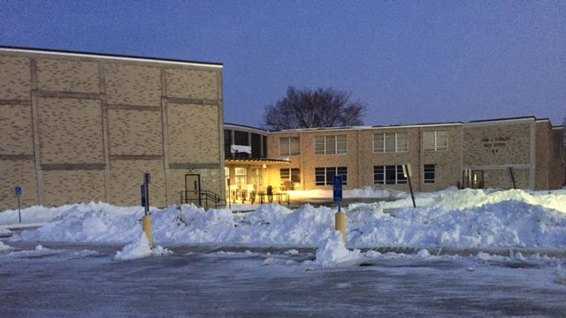 John F. Kennedy High School in Waterbury was among those delayed on Thursday morning due to storm cleanup. (WFSB photo)
