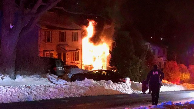 A fire erupted at an apartment on Lasalle Street in New Britain overnight. (New Britain Fire Dept. photo)